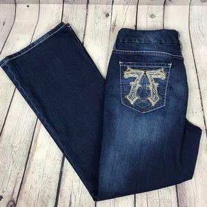 Seven 7 Embellished Bling Pocket Bootcut Jeans